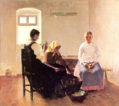 Csók István: Krumplihámozók (1889)